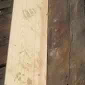 Lead flashing work in progress wood insert