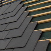 Newly laid slates on roof