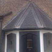 Slate roof above door