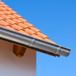 Roof with guttering