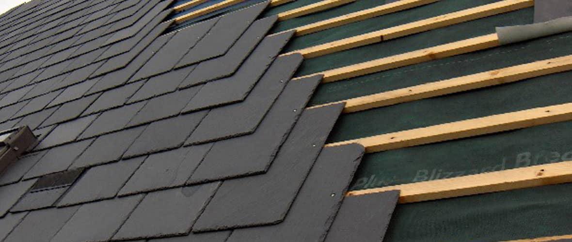 Newly laid slates on roof